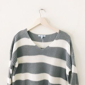 She and Sky Sweaters - sage and cream oversized striped sweater